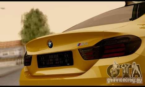 BMW M4 для GTA San Andreas вид изнутри