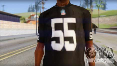 Oakland Raiders 55 McClain Black T-Shirt для GTA San Andreas третий скриншот