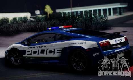 Lamborghini Gallardo LP 570-4 2011 Police v2 для GTA San Andreas вид сзади