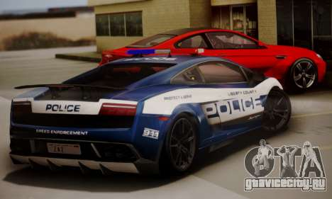 Lamborghini Gallardo LP 570-4 2011 Police v2 для GTA San Andreas вид сзади слева