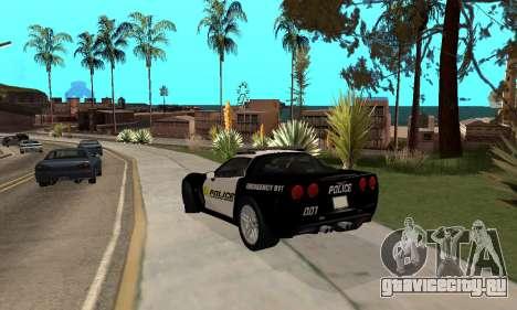 Chevrolet Corvette Z06 Los Santos Sheriff Dept для GTA San Andreas вид сзади слева