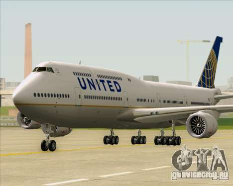 Boeing 747-8 Intercontinental United Airlines для GTA San Andreas вид сзади слева