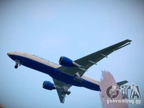 Boeing 777-212ER Transaero Airlines для GTA San Andreas вид сзади слева