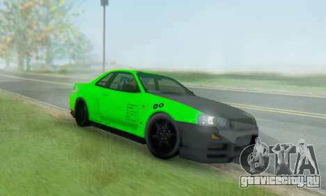 Nissan Skyline GT-R 34 для GTA San Andreas вид сзади