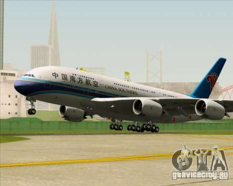 Airbus A380-841 China Southern Airlines для GTA San Andreas вид сзади
