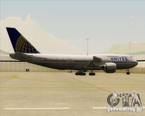 Boeing 747-8 Intercontinental United Airlines для GTA San Andreas вид сзади