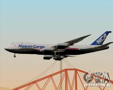 Boeing 747-8 Cargo Nippon Cargo Airlines для GTA San Andreas вид сзади слева