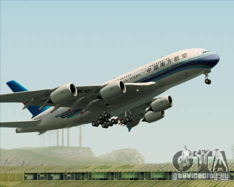 Airbus A380-841 China Southern Airlines для GTA San Andreas вид снизу