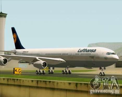 Airbus A340-313 Lufthansa для GTA San Andreas вид сзади слева
