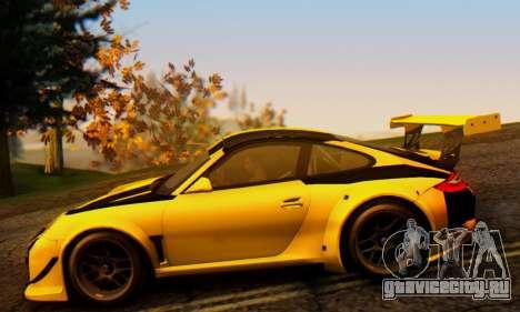 Porsche 911 GT3 R 2009 Black Yellow для GTA San Andreas вид сзади