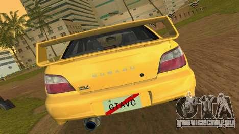 Subaru Impreza WRX 2002 Type 1 для GTA Vice City вид справа