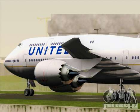 Boeing 747-8 Intercontinental United Airlines для GTA San Andreas вид снизу