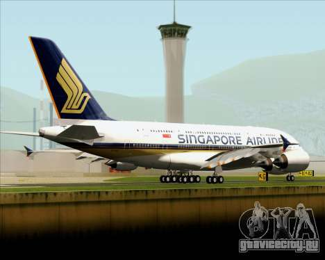 Airbus A380-841 Singapore Airlines для GTA San Andreas вид сзади слева