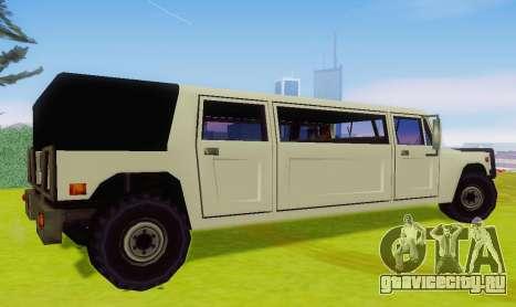 Patriot Limousine для GTA San Andreas вид сзади слева
