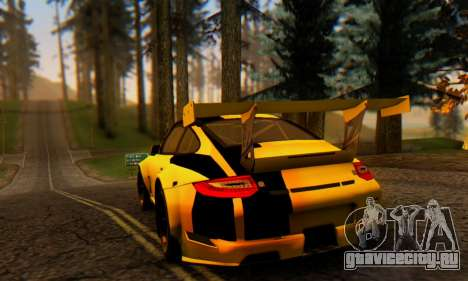 Porsche 911 GT3 R 2009 Black Yellow для GTA San Andreas вид справа
