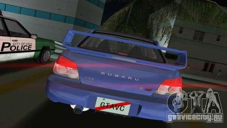 Subaru Impreza WRX STI 2006 Type 1 для GTA Vice City вид сзади слева