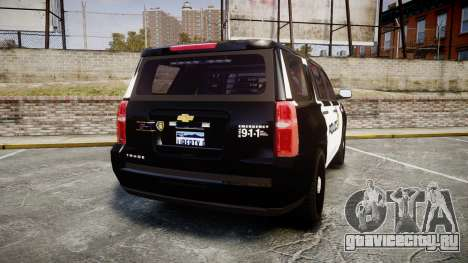 Chevrolet Tahoe 2015 LCPD [ELS] для GTA 4 вид сзади слева
