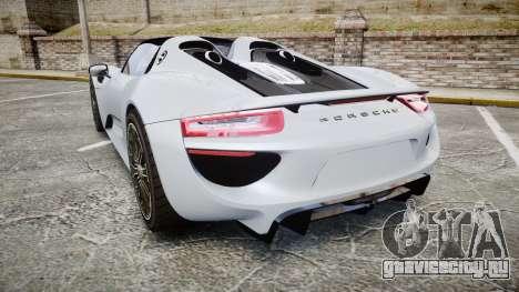 Porsche 918 Spyder 2015 для GTA 4 вид сзади слева