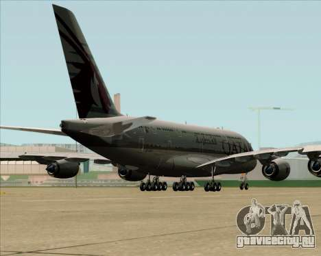 Airbus A380-861 Qatar Airways для GTA San Andreas вид сзади слева