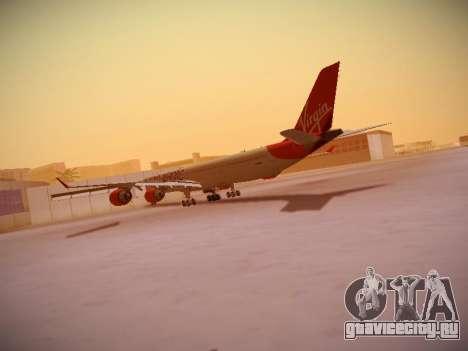 Airbus A340-600 Virgin Atlantic New Livery для GTA San Andreas вид сзади слева