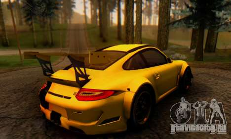 Porsche 911 GT3 R 2009 Black Yellow для GTA San Andreas вид сзади слева