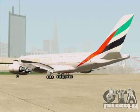 Airbus A380-841 Emirates для GTA San Andreas вид сзади слева