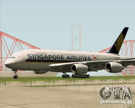 Airbus A380-841 Singapore Airlines для GTA San Andreas вид сзади