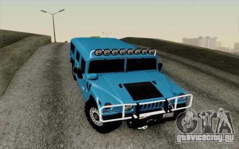Hummer H1 Alpha 2006 Road version для GTA San Andreas вид изнутри