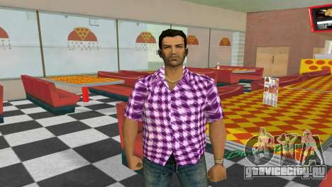 Kockas polo - rozsaszin T-Shirt для GTA Vice City второй скриншот