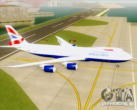Boeing 747-8 Cargo British Airways World Cargo для GTA San Andreas вид сзади слева