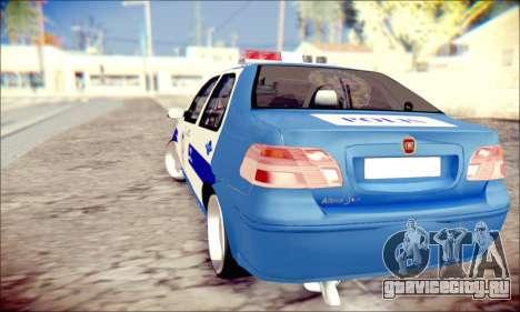 Fiat Albea Police Turkish для GTA San Andreas вид сзади слева
