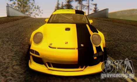 Porsche 911 GT3 R 2009 Black Yellow для GTA San Andreas вид изнутри