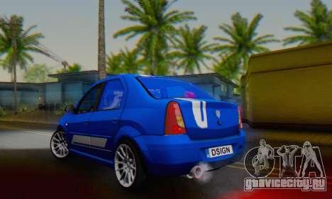 Dacia Logan Tuning Rally (B 48 CUP) для GTA San Andreas вид сзади слева