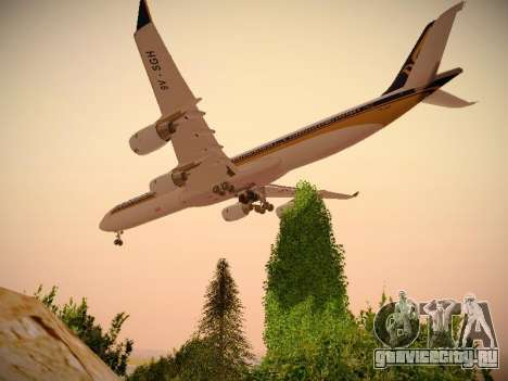 Airbus A340-600 Singapore Airlines для GTA San Andreas вид сзади слева