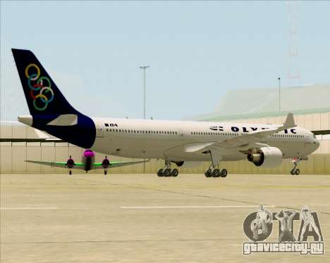 Airbus A330-300 Olympic Airlines для GTA San Andreas вид сзади слева
