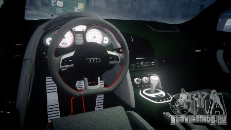 Audi R8 GT Coupe 2011 Yoshino для GTA 4 вид изнутри
