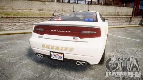 GTA V Bravado Buffalo LS Sheriff White [ELS] Sli для GTA 4 вид сзади слева