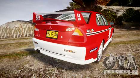 Mitsubishi Lancer Evolution VI 2000 Rally для GTA 4 вид сзади слева