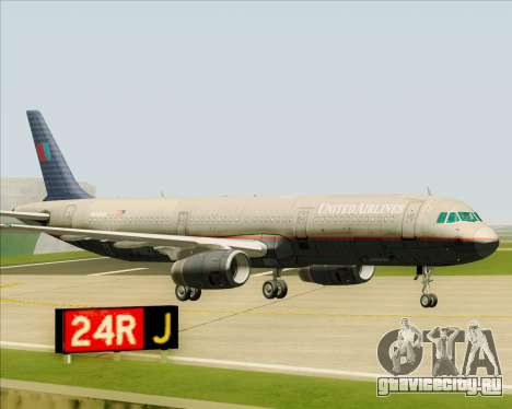 Airbus A321-200 United Airlines для GTA San Andreas вид сверху