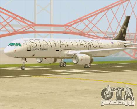 Airbus A321-200 Air New Zealand (Star Alliance) для GTA San Andreas вид справа