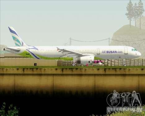 Airbus A321-200 Air Busan для GTA San Andreas вид сзади слева