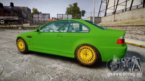BMW M3 E46 2001 Tuned Wheel Gold для GTA 4 вид слева
