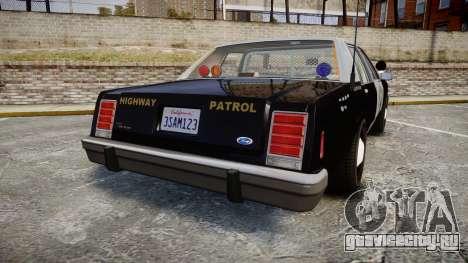 Ford LTD Crown Victoria 1987 Police CHP2 [ELS] для GTA 4 вид сзади слева