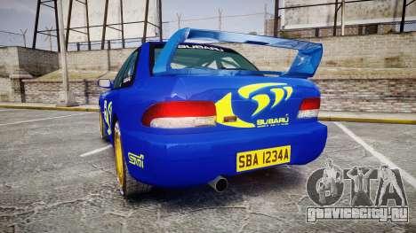 Subaru Impreza WRC 1998 Rally v3.0 Yellow для GTA 4 вид сзади слева