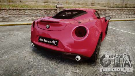 Alfa Romeo 4C для GTA 4 вид сзади слева