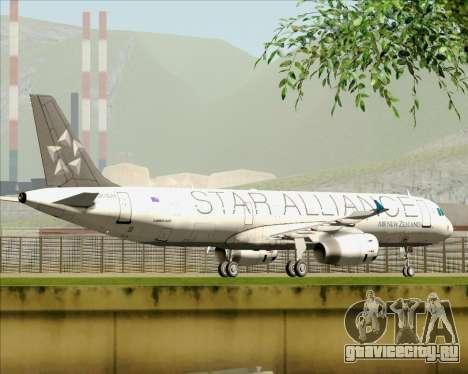 Airbus A321-200 Air New Zealand (Star Alliance) для GTA San Andreas вид снизу
