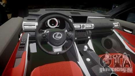 Lexus IS 350 F-Sport 2014 Rims2 для GTA 4 вид изнутри