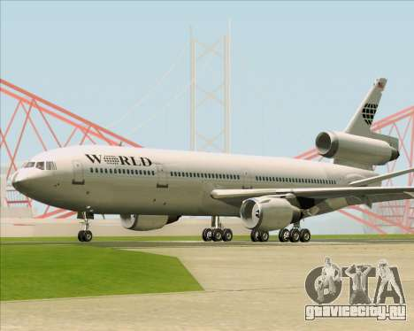 McDonnell Douglas DC-10-30 World Airways для GTA San Andreas вид сзади