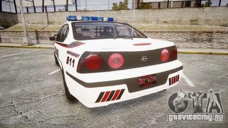 Chevrolet Impala 2003 Liberty City Police [ELS] для GTA 4 вид сзади слева
