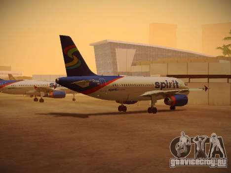 Airbus A319-132 Spirit Airlines для GTA San Andreas вид сзади слева